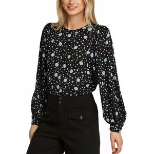 Who What Wear Dot Balloon Sleeve Blouse Black/Blue